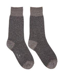 Ys | Grey Metallic Herringbone Socks