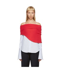 JACQUEMUS | Red And Blue Polo Off-The-Shoulder Shirt