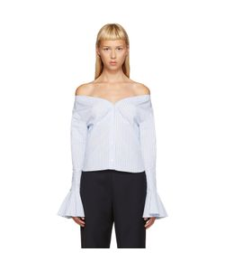 JACQUEMUS | Blue And White Off-The-Shoulder Shirt