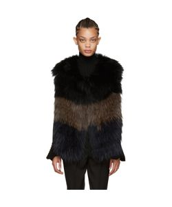 Yves Salomon | Navy And Brown Knit Fur Vest