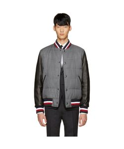 Moncler Gamme Bleu | Grey Leather Sleeve Bomber Jacket