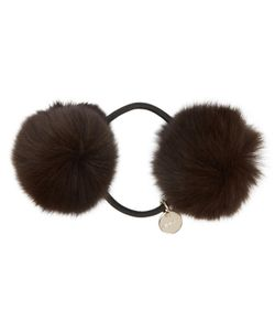 Yves Salomon | Brown Fur Pom Pom Hair Tie