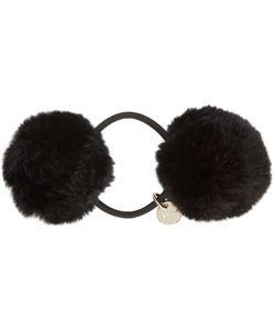 Yves Salomon | Black Fur Pom Pom Hair Tie
