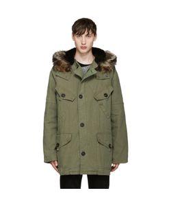 Yves Salomon | Green Fur-Lined Military Coat
