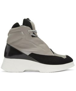 JULIUS | Taupe And Black Leather High-Top Sneakers
