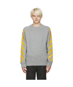 Moncler O   Grey Striped Sleeves Sweatshirt