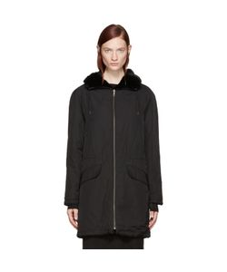 Army by Yves Salomon | Black Nylon And Fur Parka