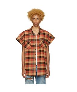 FEAR OF GOD | Exclusive Orange Flannel Sleeveless Shirt