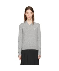 Comme des Gar ons Play | And Heart Patch V-Neck Sweater