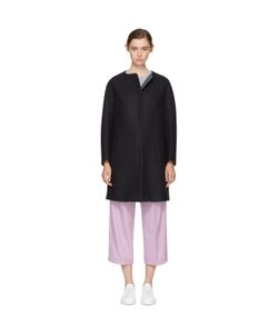 Jil Sander Navy | Collarless Wool Coat