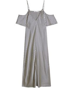 T By Alexander Wang | Striped Silk Dress With Cut Out Shoulders Gr. Us 8