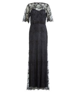 Catherine Deane | Floor Length Dress With Embellished Lace Overlay Top Gr. Uk 14