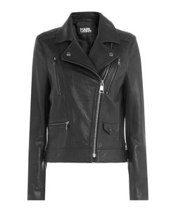 Karl Lagerfeld | Leather Biker Jacket With Embossed Motif Gr. It 44