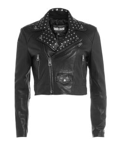 Just Cavalli | Cropped Leather Jacket With Stud Embellishment Gr. It 38
