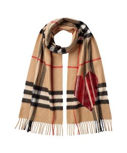 Burberry | Checked Cashmere Scarf With Heart Embellishment Gr. One Size