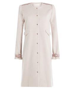 Marina Hoermanseder   Wool-Angora Blend Coat With Leather Deatils Gr. De 40