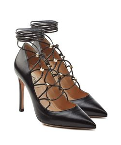 Valentino | Leather Pumps With Embellished Ties At Ankle Gr. It 36