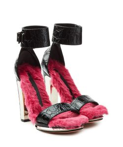 Alexander McQueen | Fur Lined Embossed Leather Platform Sandals Gr. It 36