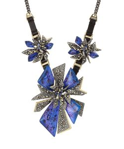 Alexis Bittar | Mixed Metal Necklace With Leather And Crystals Gr. One