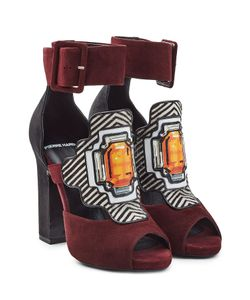 Pierre Hardy | Suede Sandals With Printed Applique Gr. Fr 36