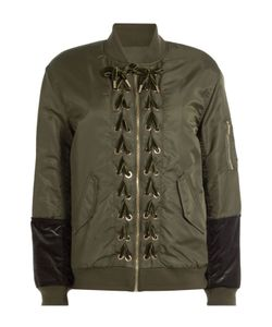 SJYP | Bomber Jacket With Velvet Lace-Up Detail Gr. S