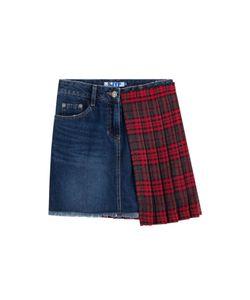 SJYP | Denim Skirt With Pleated Tartan Panel Gr. S