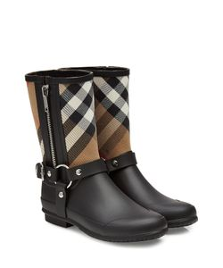 Burberry | Rubber Rain Boots With Checked Fabric Gr. Eu 36