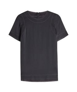 DKNY | Silk Top With Contrast Stitching Gr. M