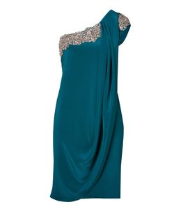 Marchesa | Crystal Embroidered Silk Crepe One Shoulder Dress In Teal Gr. 38