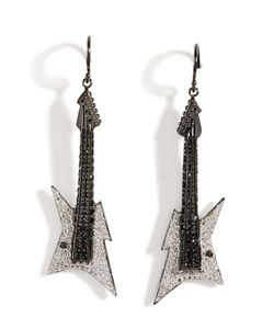 Lynn Ban | Rhodium Guitar Earrings B In Gr. One