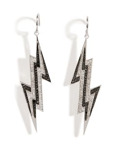Lynn Ban | Sterling Lightening Bolt Earrings With Diamonds Gr. One