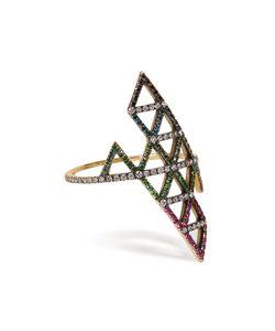 Lito | Diamond And Tsavorite Triangle Ring Gr. 7