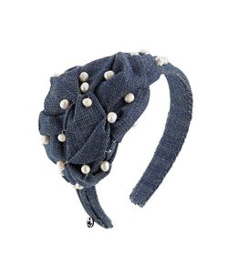 Master Piece | Denim Hair Band With Pearls Gr. One