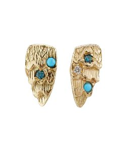 Carolina Bucci | Owls Wing 18k Earrings With Turquoise And Diamonds Gr. One