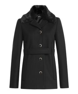Jil Sander Navy | Virgin Wool Jacket With Fur Collar Gr. De 42