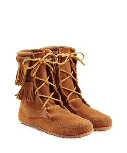 Minnetonka | Double Fringe Tramper Suede Boots With Studs Gr. Us 11