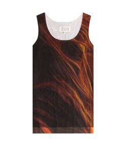 Maison Margiela | Printed Cotton Tank With Mesh Overlay Gr. S