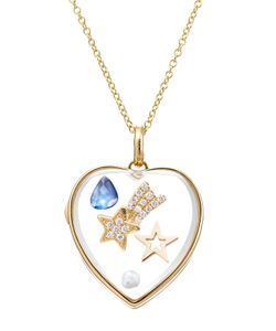 Loquet | 14kt Heart Locket With Sapphire Pearl And Diamonds Gr. One