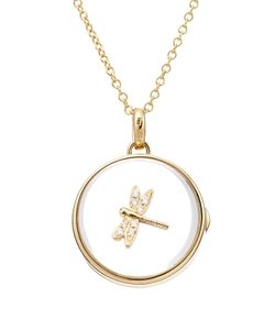 Loquet | 14kt Round Locket With 18kt Charm And Diamonds Gr. One