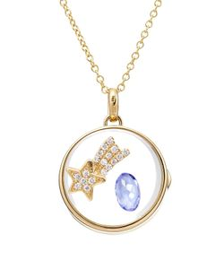 Loquet | 14kt Round Locket With 18kt Charm Tanzanite And Diamonds Gr. One