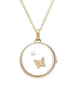Loquet | 14kt Round Locket With 18kt Charm Pearl And Diamonds Gr.