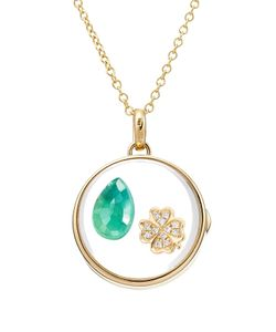 Loquet | 14kt Round Locket With 18kt Charm Diamonds And Emerald Gr. One