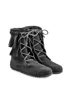 Minnetonka | Double Fringe Tramper Suede Boots With Studs Gr. Us 6