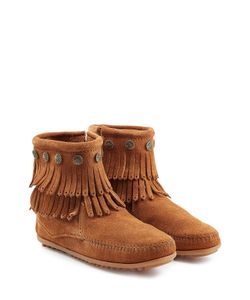 Minnetonka | Concho Fringed Suede Ankle Boots With Studs Gr. Us 5