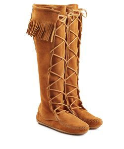 Minnetonka | Fringed Suede Knee Boots With Lace-Up Front Gr. Us 10