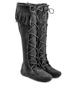 Minnetonka | Fringed Suede Knee Boots With Lace-Up Front Gr. Us 6
