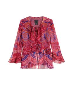 Anna Sui | Shell Print Silk Top With Ruffle Trim Gr. Us 4