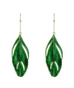 Aurelie Bidermann   18k Plated Feather Earrings Gr. One