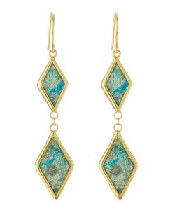 PIPPA SMALL | Plated Earrings With Chrysocolla Stones Gr. One
