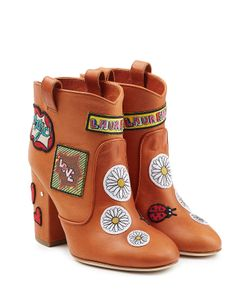 Laurence Dacade | Leather Ankle Boots With Logo Patches Gr. It 38